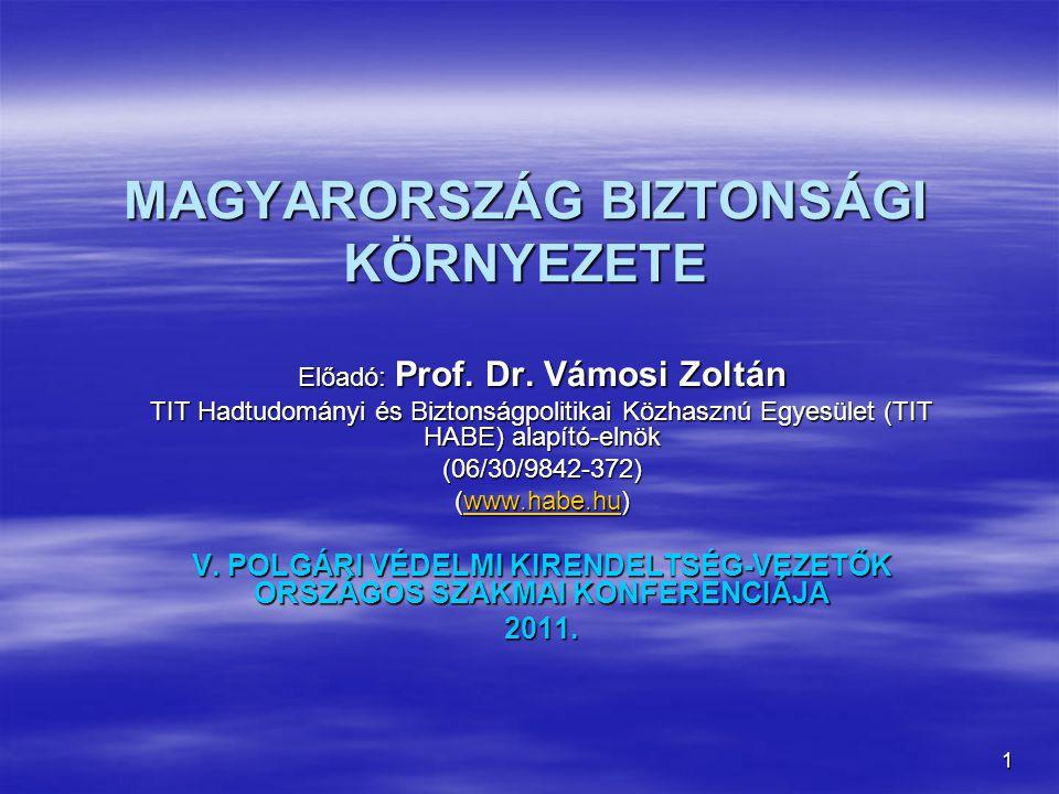 1 MAGYARORSZÁG BIZTONSÁGI KÖRNYEZETE Előadó: Prof. Dr. Vámosi Zoltán TIT Hadtudományi és Biztonságpolitikai Közhasznú Egyesület (TIT HABE) alapító-eln