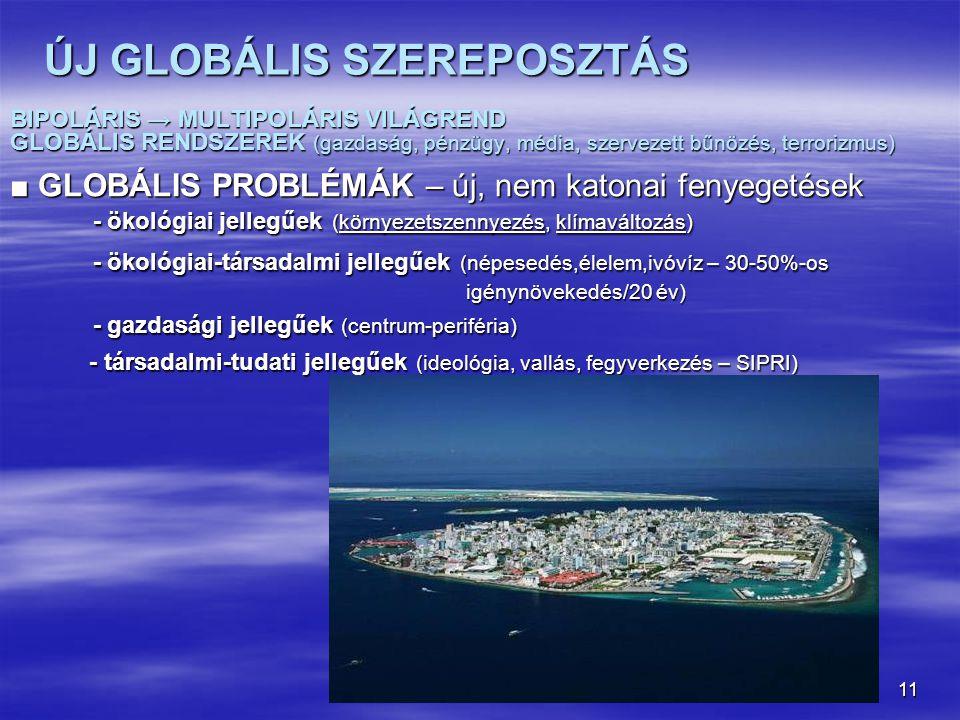 11 ÚJ GLOBÁLIS SZEREPOSZTÁS BIPOLÁRIS → MULTIPOLÁRIS VILÁGREND GLOBÁLIS RENDSZEREK (gazdaság, pénzügy, média, szervezett bűnözés, terrorizmus) ■ GLOBÁ