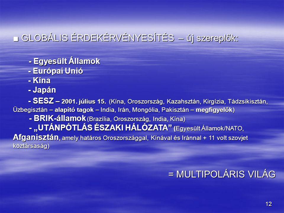 12 ■ GLOBÁLIS ÉRDEKÉRVÉNYESÍTÉS – új szereplők: - Egyesült Államok - Egyesült Államok - Európai Unió - Európai Unió - Kína - Kína - Japán - Japán - SE