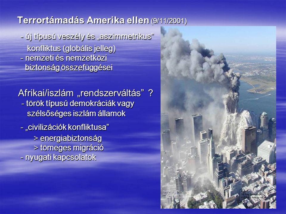 15 AZ EURÓPAI BIZTONSÁG DIMENZIÓI ■ Prágai NATO-csúcs (2002 november ) - új globális szereposztás elfogadása - új globális szereposztás elfogadása - európai dimenziók jóváhagyása - európai dimenziók jóváhagyása - NATO-küldetés újragondolása - NATO-küldetés újragondolása - Amerika domináns szerepének megerősítése - Amerika domináns szerepének megerősítése ■ Biztonsági szintek (dimenziók) ○ globális dimenzió – USA, EU, Oroszország ○ globális dimenzió – USA, EU, Oroszország - amerikai-európai együttműködés ellentmondásai (Irak) - amerikai-európai együttműködés ellentmondásai (Irak) - amerikai-orosz viszony (rakétatelepítés, Irán) - amerikai-orosz viszony (rakétatelepítés, Irán) - EU-orosz együttműködés (energiabiztonság) - EU-orosz együttműködés (energiabiztonság) ○ középhatalmi dimenzió – brit, német, francia viszony ○ középhatalmi dimenzió – brit, német, francia viszony - nemzetközi szerepvállalás - nemzetközi szerepvállalás - viszonyuk a globális dimenzióhoz - viszonyuk a globális dimenzióhoz ○ regionális dimenzió – a kisebb/új tagországok alkalmazkodása és érdekérvényesítési képessége ○ regionális dimenzió – a kisebb/új tagországok alkalmazkodása és érdekérvényesítési képessége