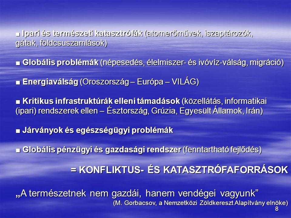 9 BIZTONSÁGFOGALOM  Hagyományos irányzat : biztonság = katonai biztonság  Komplex megközelítés: - minden szint (egyéni – globális) - minden szint (egyéni – globális) - minden elem (társadalmi-politikai, gazdasági-szociális, katonai, közbiztonsági, energiaellátási, információs, ökológiai, polgári- és katasztrófavédelmi…) - minden elem (társadalmi-politikai, gazdasági-szociális, katonai, közbiztonsági, energiaellátási, információs, ökológiai, polgári- és katasztrófavédelmi…) - társadalmi kategória – feladat és felelősség – de FELKÉSZÍTÉS!!.
