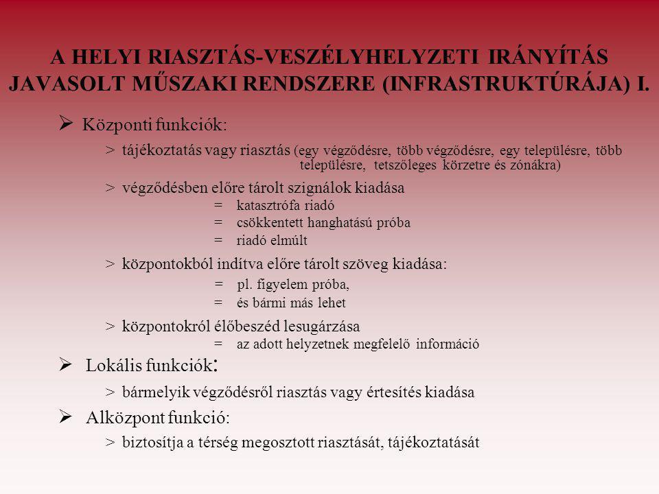 A HELYI RIASZTÁS-VESZÉLYHELYZETI IRÁNYÍTÁS JAVASOLT MŰSZAKI RENDSZERE (INFRASTRUKTÚRÁJA) II.