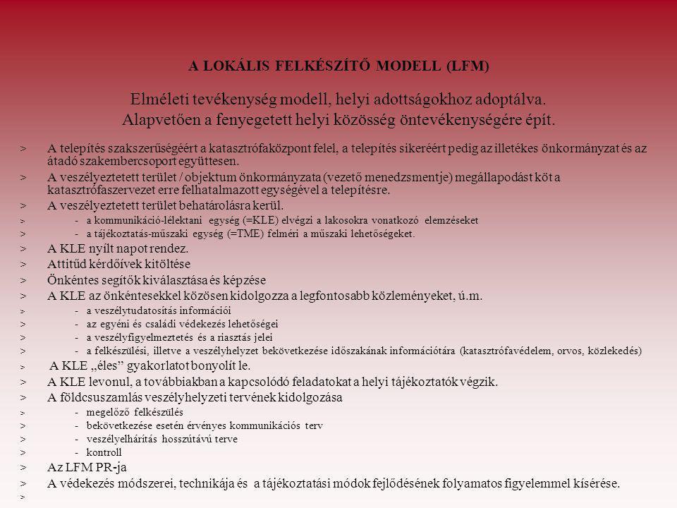 A LOKÁLIS FELKÉSZÍTŐ MODELL (LFM) Elméleti tevékenység modell, helyi adottságokhoz adoptálva. Alapvetően a fenyegetett helyi közösség öntevékenységére