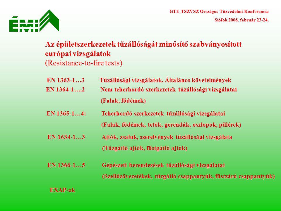 Az épületszerkezetek tűzállóságát minősítő szabványosított európai vizsgálatok (Resistance-to-fire tests) EN 1363-1…3 Tűzállósági vizsgálatok. Általán