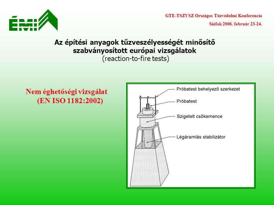 Az építési anyagok tűzveszélyességét minősítő szabványosított európai vizsgálatok (reaction-to-fire tests) GTE-TSZVSZ Országos Tűzvédelmi Konferencia