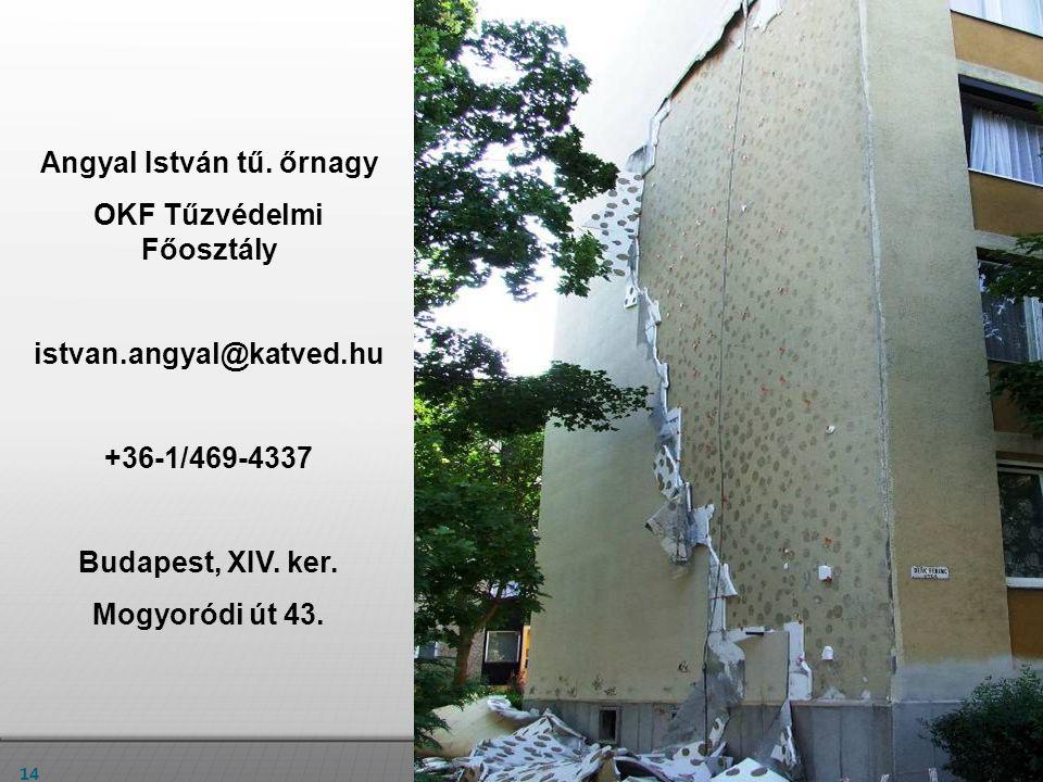 14 Angyal István tű. őrnagy OKF Tűzvédelmi Főosztály istvan.angyal@katved.hu +36-1/469-4337 Budapest, XIV. ker. Mogyoródi út 43.