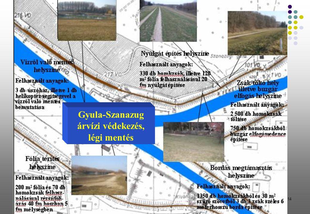 14 Gyula-Szanazug árvízi védekezés, légi mentés
