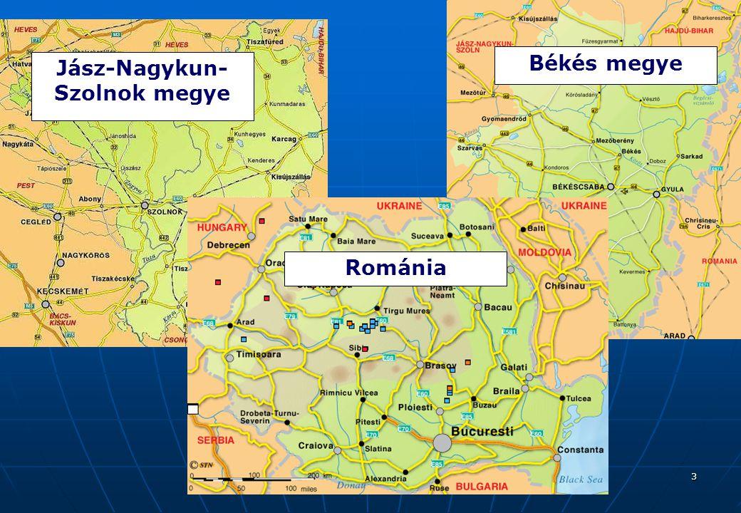 3 Jász-Nagykun- Szolnok megye Békés megye Románia