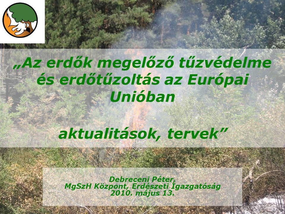 """""""Az erdők megelőző tűzvédelme és erdőtűzoltás az Európai Unióban aktualitások, tervek Debreceni Péter, MgSzH Központ, Erdészeti Igazgatóság 2010."""