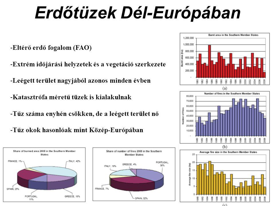 Erdőtüzek Dél-Európában -Eltérő erdő fogalom (FAO) -Extrém időjárási helyzetek és a vegetáció szerkezete -Leégett terület nagyjából azonos minden évben -Katasztrófa méretű tüzek is kialakulnak -Tűz száma enyhén csökken, de a leégett terület nő -Tűz okok hasonlóak mint Közép-Európában