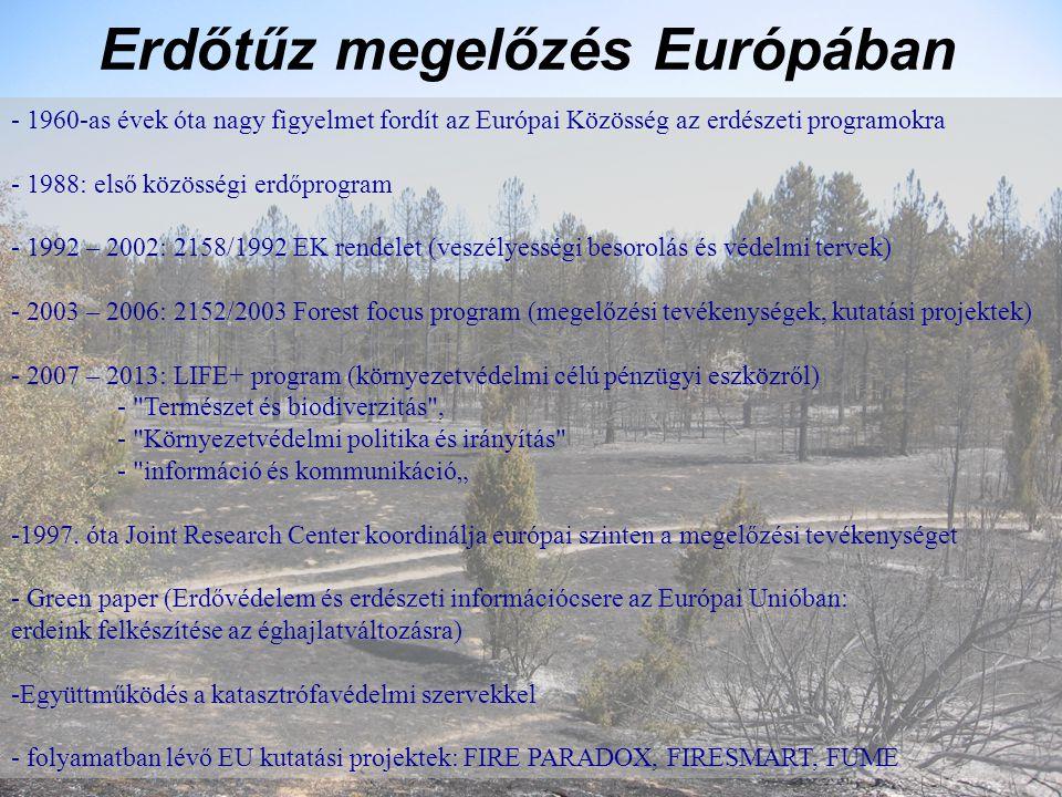 """Erdőtűz megelőzés Európában - 1960-as évek óta nagy figyelmet fordít az Európai Közösség az erdészeti programokra - 1988: első közösségi erdőprogram - 1992 – 2002: 2158/1992 EK rendelet (veszélyességi besorolás és védelmi tervek) - 2003 – 2006: 2152/2003 Forest focus program (megelőzési tevékenységek, kutatási projektek) - 2007 – 2013: LIFE+ program (környezetvédelmi célú pénzügyi eszközről) - Természet és biodiverzitás , - Környezetvédelmi politika és irányítás - információ és kommunikáció"""" -1997."""