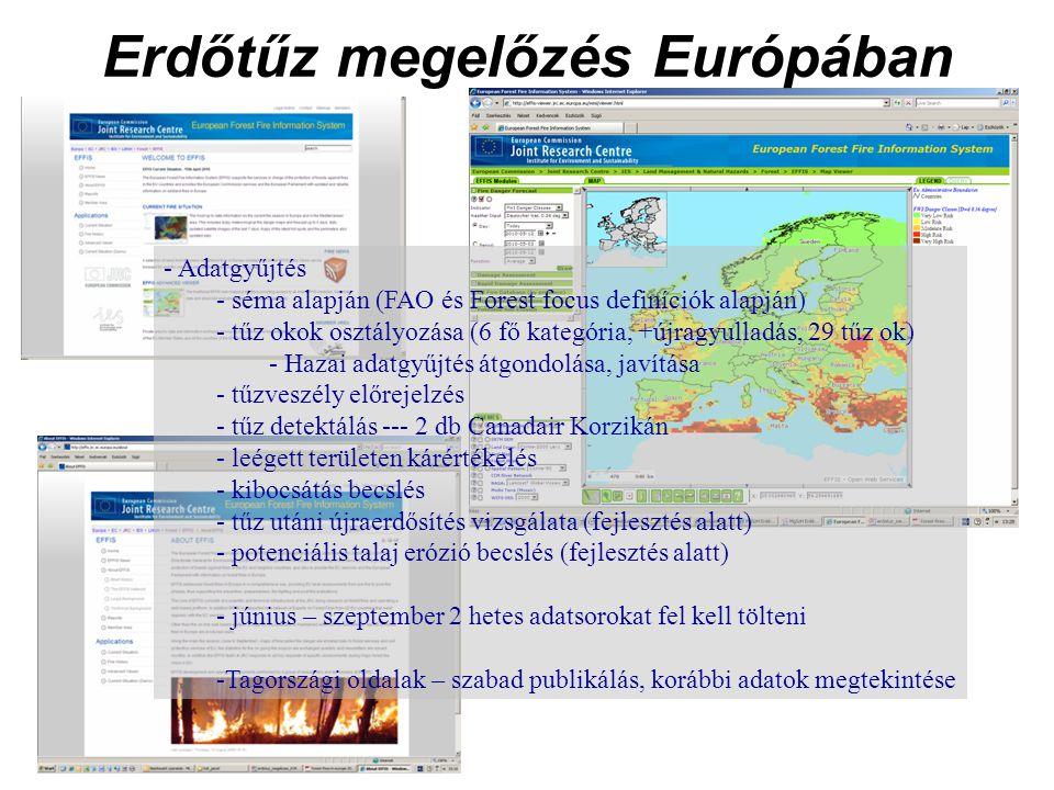 Erdőtűz megelőzés Európában - Adatgyűjtés - séma alapján (FAO és Forest focus definíciók alapján) - tűz okok osztályozása (6 fő kategória, +újragyulladás, 29 tűz ok) - Hazai adatgyűjtés átgondolása, javítása - tűzveszély előrejelzés - tűz detektálás --- 2 db Canadair Korzikán - leégett területen kárértékelés - kibocsátás becslés - tűz utáni újraerdősítés vizsgálata (fejlesztés alatt) - potenciális talaj erózió becslés (fejlesztés alatt) - június – szeptember 2 hetes adatsorokat fel kell tölteni -Tagországi oldalak – szabad publikálás, korábbi adatok megtekintése
