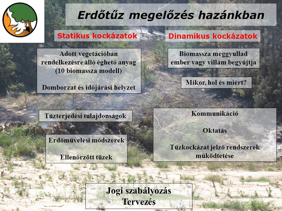 Erdőtűz megelőzés hazánkban Statikus kockázatok Dinamikus kockázatok Adott vegetációban rendelkezésre álló éghető anyag (10 biomassza modell) Domborzat és időjárási helyzet Erdőművelési módszerek Ellenőrzött tüzek Kommunikáció Oktatás Tűzkockázat jelző rendszerek működtetése Jogi szabályozás Tervezés Tűzterjedési tulajdonságok Biomassza meggyullad ember vagy villám begyújtja Mikor, hol és miért?