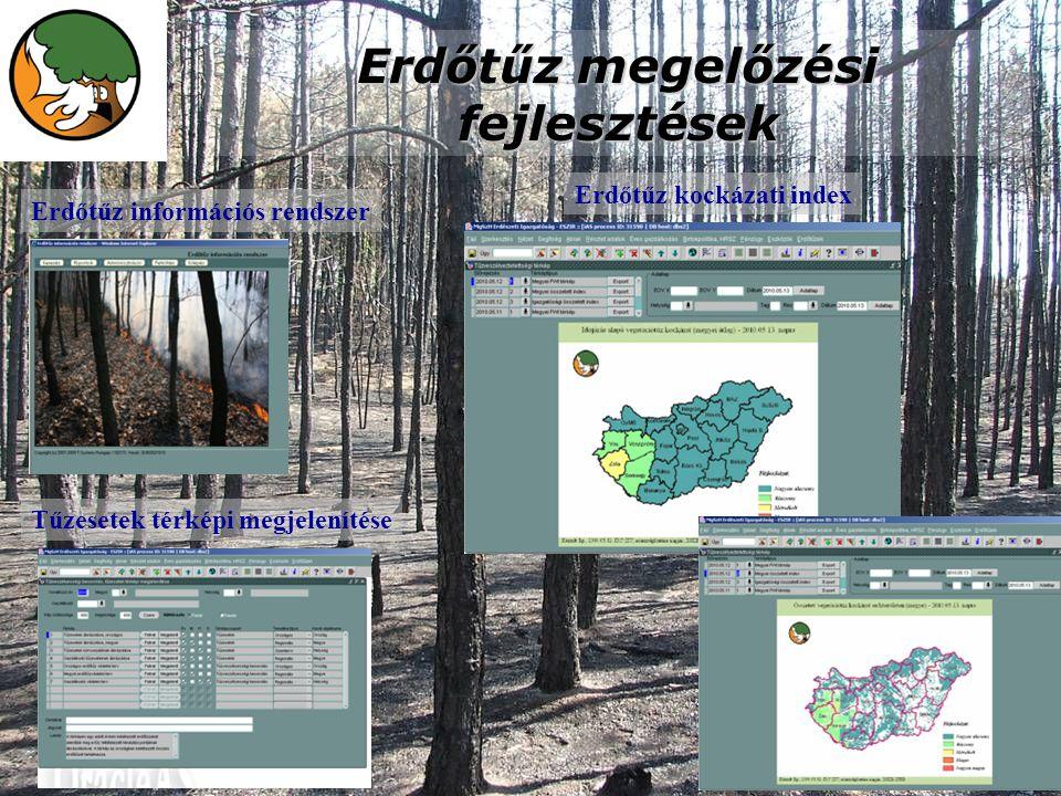 Erdőtűz megelőzési fejlesztések Erdőtűz információs rendszer Tűzesetek térképi megjelenítése Erdőtűz kockázati index