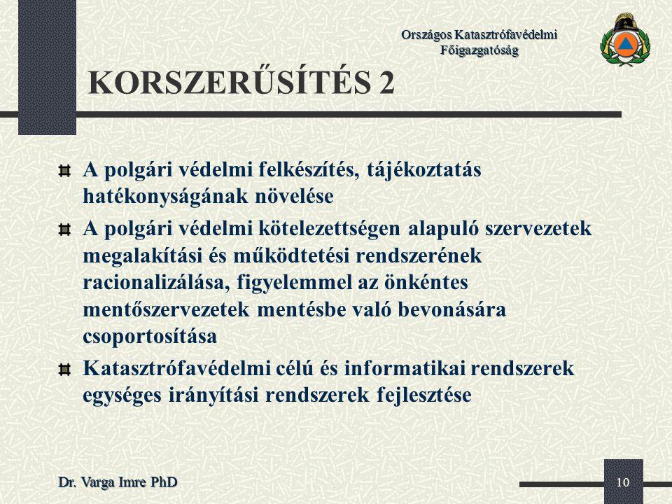 Országos Katasztrófavédelmi Főigazgatóság Dr. Varga Imre PhD 10 KORSZERŰSÍTÉS 2 A polgári védelmi felkészítés, tájékoztatás hatékonyságának növelése A