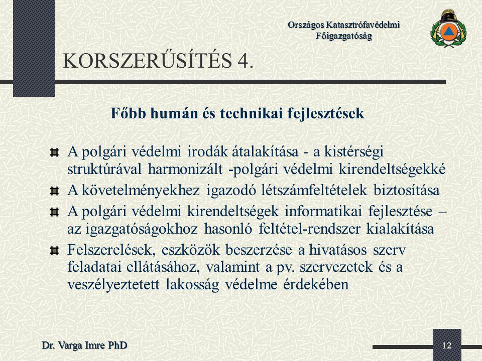 Országos Katasztrófavédelmi Főigazgatóság Dr. Varga Imre PhD 12 KORSZERŰSÍTÉS 4. Főbb humán és technikai fejlesztések A polgári védelmi irodák átalakí