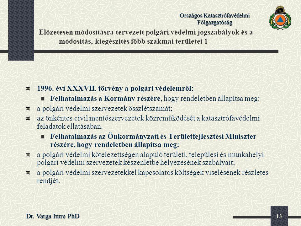 Országos Katasztrófavédelmi Főigazgatóság Dr. Varga Imre PhD 13 Előzetesen módosításra tervezett polgári védelmi jogszabályok és a módosítás, kiegészí