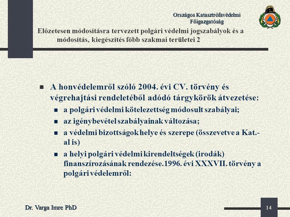 Országos Katasztrófavédelmi Főigazgatóság Dr. Varga Imre PhD 14 Előzetesen módosításra tervezett polgári védelmi jogszabályok és a módosítás, kiegészí
