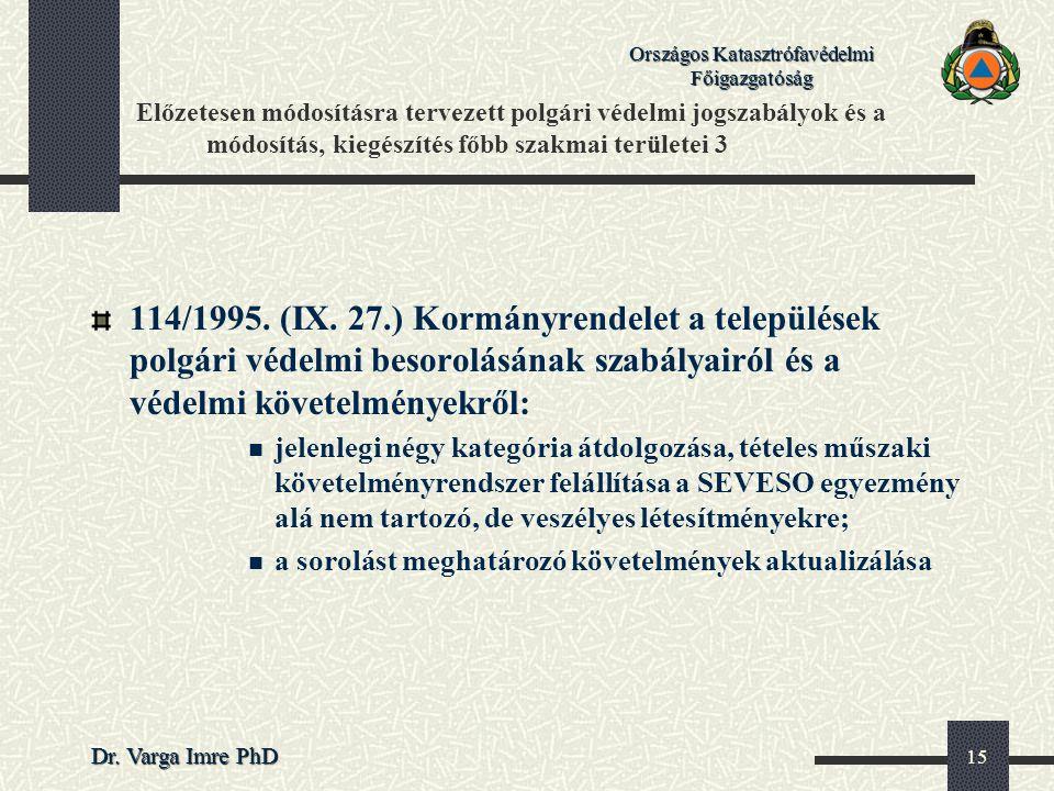 Országos Katasztrófavédelmi Főigazgatóság Dr. Varga Imre PhD 15 Előzetesen módosításra tervezett polgári védelmi jogszabályok és a módosítás, kiegészí