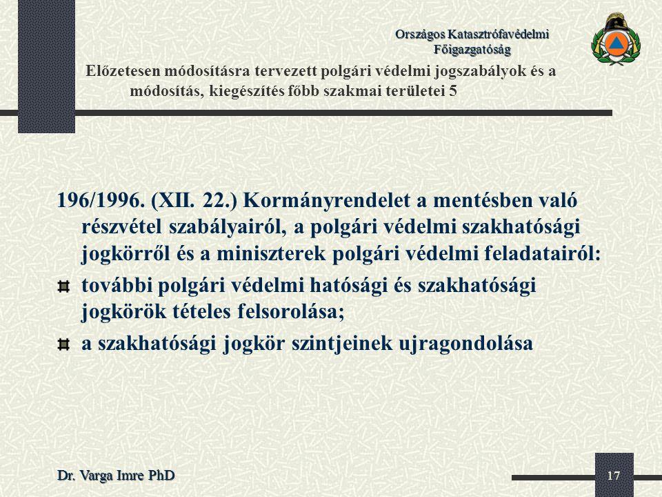 Országos Katasztrófavédelmi Főigazgatóság Dr. Varga Imre PhD 17 Előzetesen módosításra tervezett polgári védelmi jogszabályok és a módosítás, kiegészí
