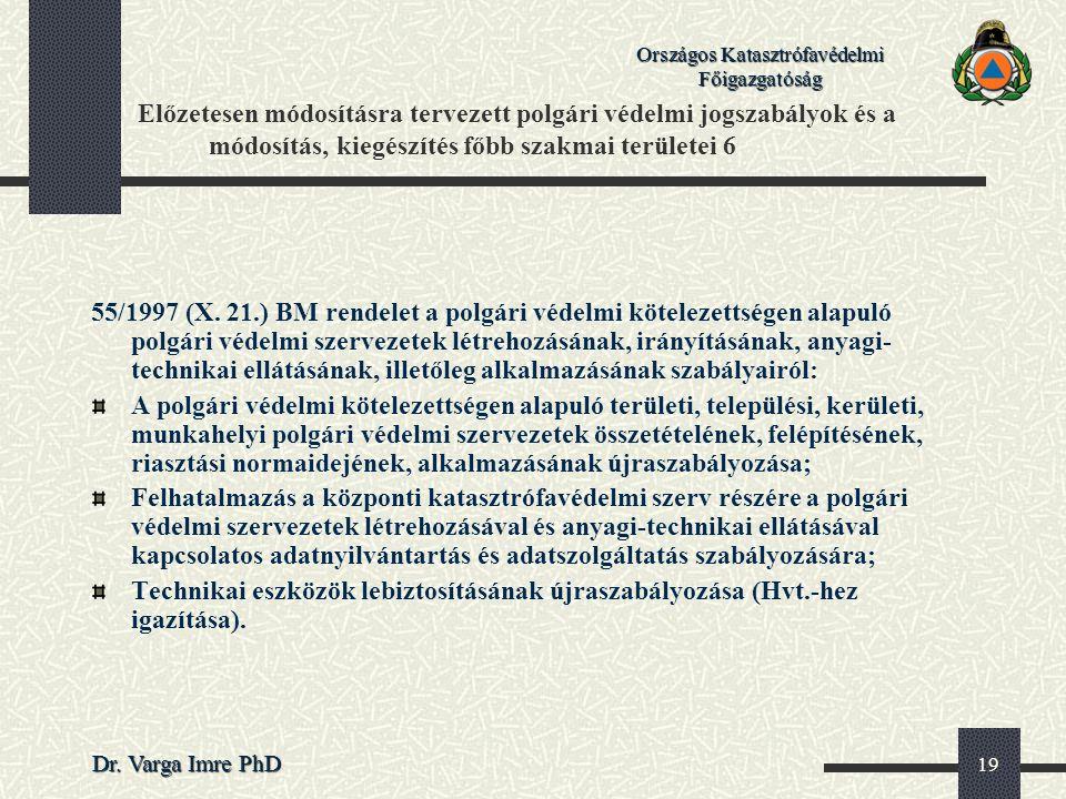 Országos Katasztrófavédelmi Főigazgatóság Dr. Varga Imre PhD 19 Előzetesen módosításra tervezett polgári védelmi jogszabályok és a módosítás, kiegészí