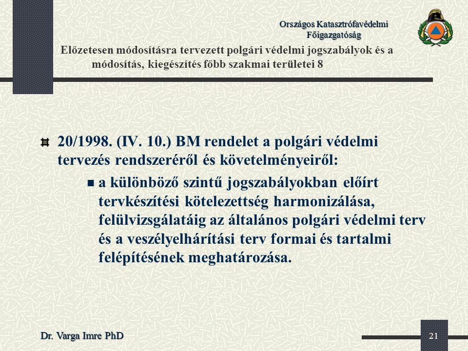 Országos Katasztrófavédelmi Főigazgatóság Dr. Varga Imre PhD 21 Előzetesen módosításra tervezett polgári védelmi jogszabályok és a módosítás, kiegészí