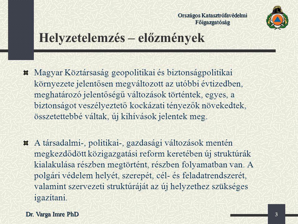 Országos Katasztrófavédelmi Főigazgatóság Dr. Varga Imre PhD 3 Helyzetelemzés – előzmények Magyar Köztársaság geopolitikai és biztonságpolitikai körny