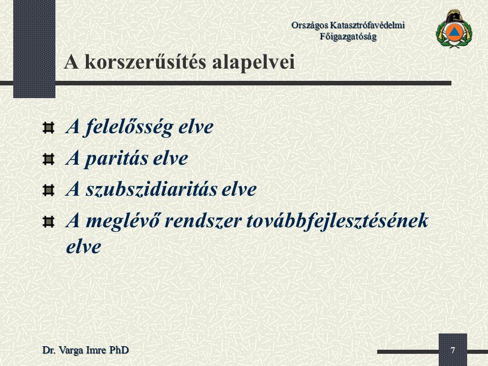 Országos Katasztrófavédelmi Főigazgatóság Dr. Varga Imre PhD 7 A korszerűsítés alapelvei A felelősség elve A paritás elve A szubszidiaritás elve A meg