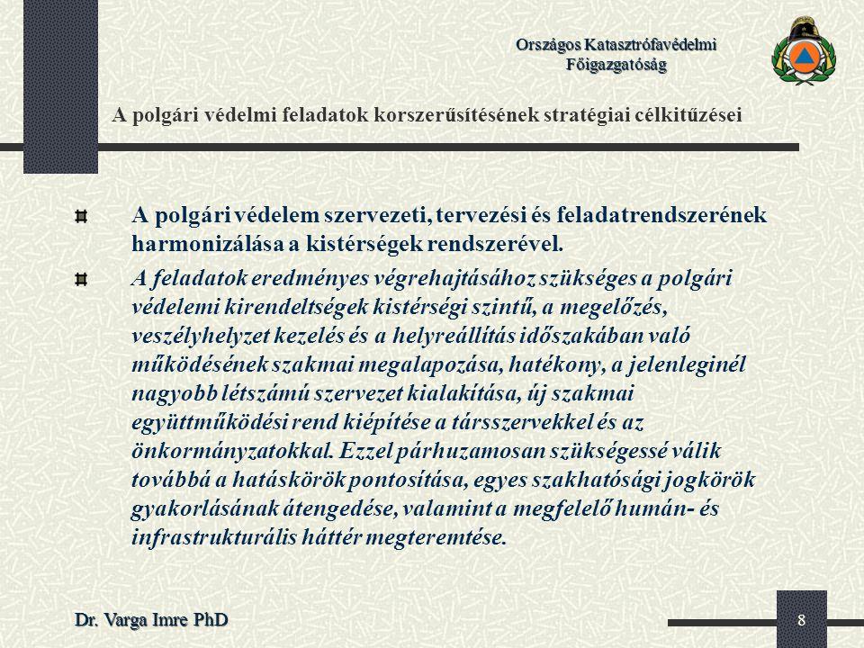 Országos Katasztrófavédelmi Főigazgatóság Dr. Varga Imre PhD 8 A polgári védelmi feladatok korszerűsítésének stratégiai célkitűzései A polgári védelem