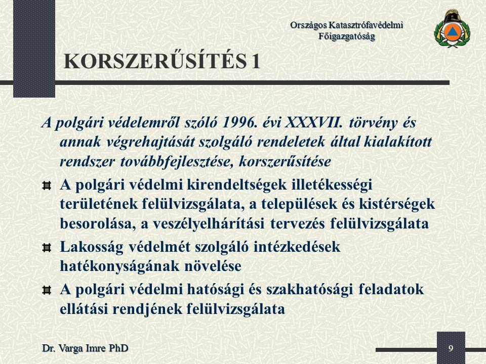 Országos Katasztrófavédelmi Főigazgatóság Dr. Varga Imre PhD 9 KORSZERŰSÍTÉS 1 A polgári védelemről szóló 1996. évi XXXVII. törvény és annak végrehajt