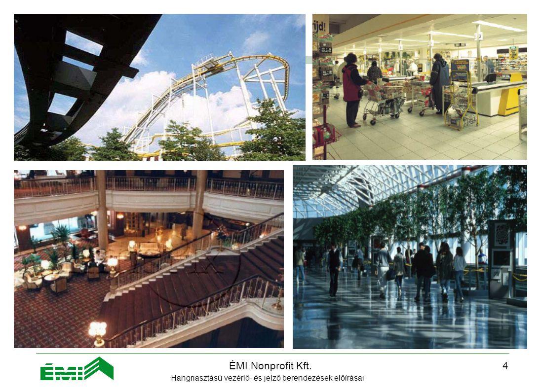 ÉMI Nonprofit Kft.3 Alkalmazási terület  középületek  áruházak  sportcsarnokok  templomok  szórakozóhelyek  kórházak  irodaházak, bevásárlóközpontok  hotelek  közösségi közlekedési állomások  gyárak, ipari létesítmények  nagy szabad terek, vidámparkok Hangriasztású vezérlő- és jelző berendezések előírásai