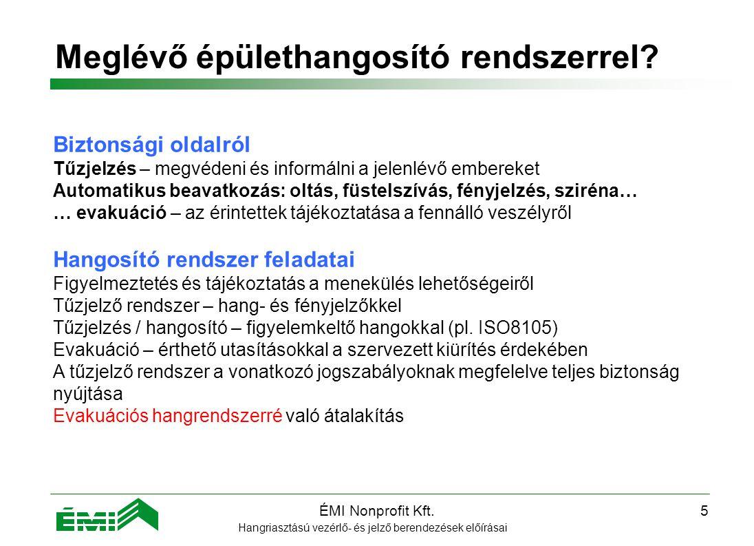 ÉMI Nonprofit Kft.5 Meglévő épülethangosító rendszerrel.