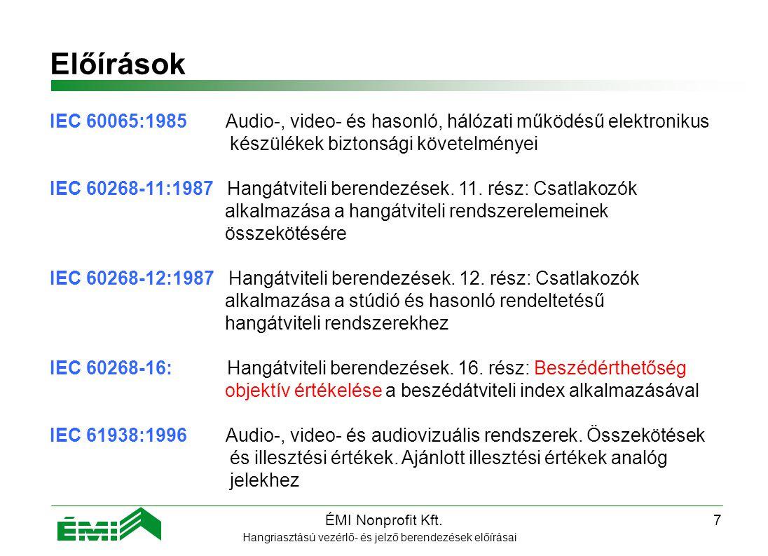 ÉMI Nonprofit Kft.7 Előírások Hangriasztású vezérlő- és jelző berendezések előírásai IEC 60065:1985 Audio-, video- és hasonló, hálózati működésű elektronikus készülékek biztonsági követelményei IEC 60268-11:1987 Hangátviteli berendezések.