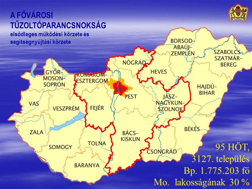 A FŐVÁROSI TŰZOLTÓPARANCSNOKSÁG elsődleges működési körzete és segítségnyújtási körzete 95 HÖT, 3127.