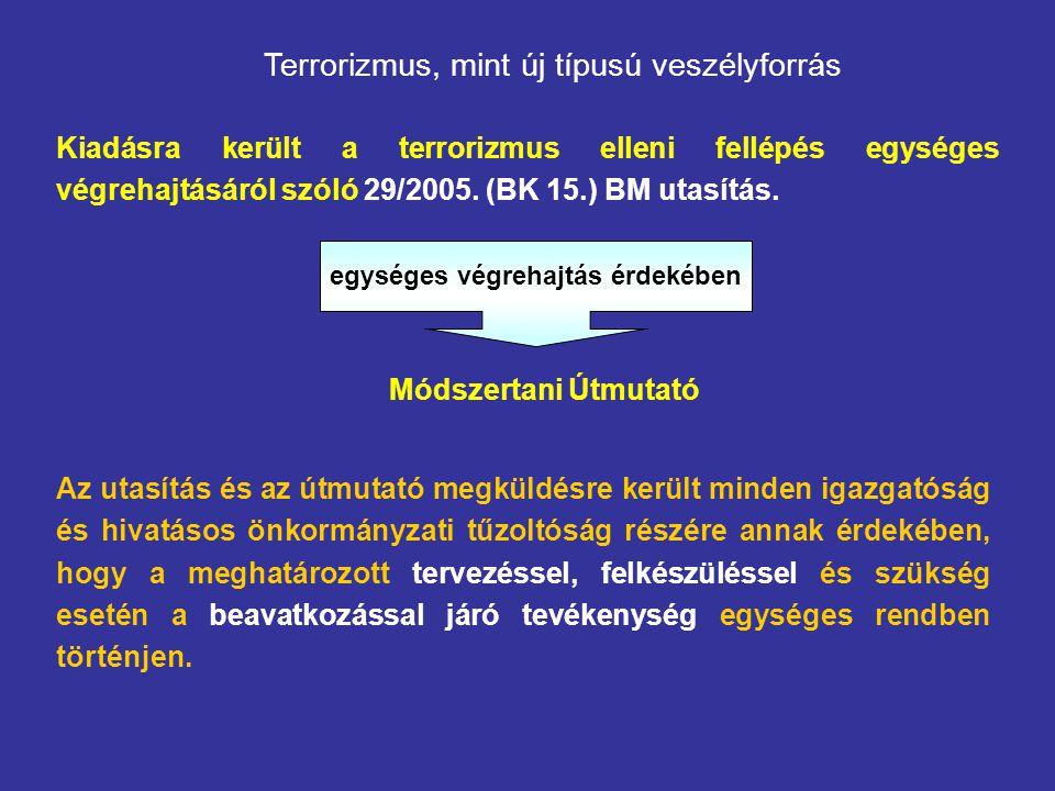 Terrorizmus, mint új típusú veszélyforrás Kiadásra került a terrorizmus elleni fellépés egységes végrehajtásáról szóló 29/2005.