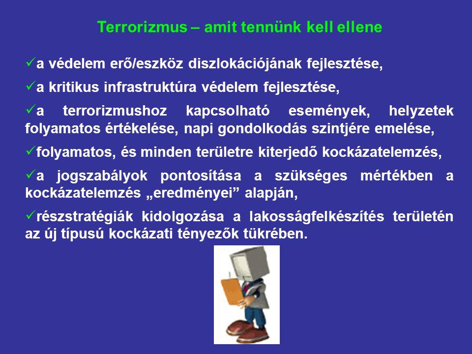 """Terrorizmus – amit tennünk kell ellene a védelem erő/eszköz diszlokációjának fejlesztése, a kritikus infrastruktúra védelem fejlesztése, a terrorizmushoz kapcsolható események, helyzetek folyamatos értékelése, napi gondolkodás szintjére emelése, folyamatos, és minden területre kiterjedő kockázatelemzés, a jogszabályok pontosítása a szükséges mértékben a kockázatelemzés """"eredményei alapján, részstratégiák kidolgozása a lakosságfelkészítés területén az új típusú kockázati tényezők tükrében."""
