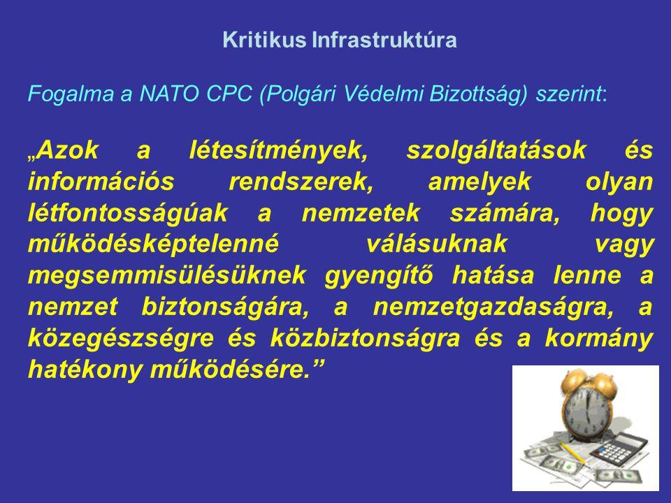 """Kritikus Infrastruktúra Fogalma a NATO CPC (Polgári Védelmi Bizottság) szerint: """"Azok a létesítmények, szolgáltatások és információs rendszerek, amelyek olyan létfontosságúak a nemzetek számára, hogy működésképtelenné válásuknak vagy megsemmisülésüknek gyengítő hatása lenne a nemzet biztonságára, a nemzetgazdaságra, a közegészségre és közbiztonságra és a kormány hatékony működésére."""