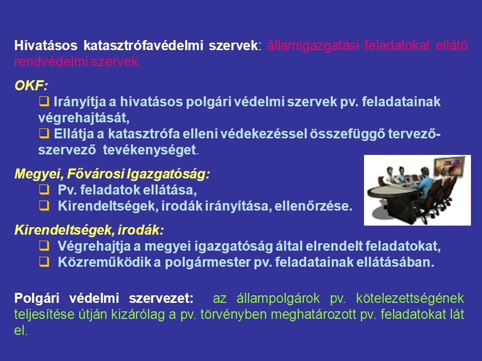 Hivatásos katasztrófavédelmi szervek: államigazgatási feladatokat ellátó rendvédelmi szervek.