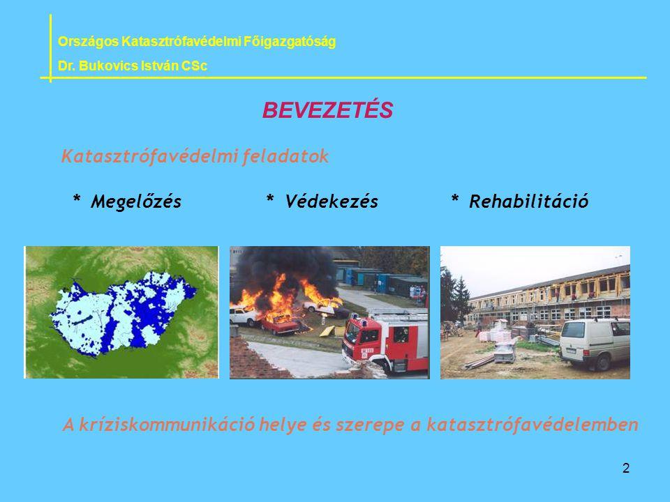 2 Katasztrófavédelmi feladatok * Megelőzés * Védekezés * Rehabilitáció Országos Katasztrófavédelmi Főigazgatóság Dr. Bukovics István CSc BEVEZETÉS A k