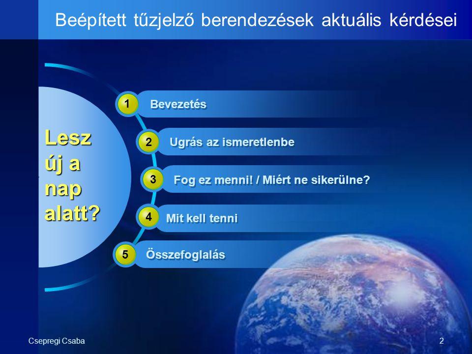 Csepregi Csaba2 Beépített tűzjelző berendezések aktuális kérdései Lesz új a nap alatt? 1 2 3 4 5 Bevezetés Ugrás az ismeretlenbe Fog ez menni! / Miért