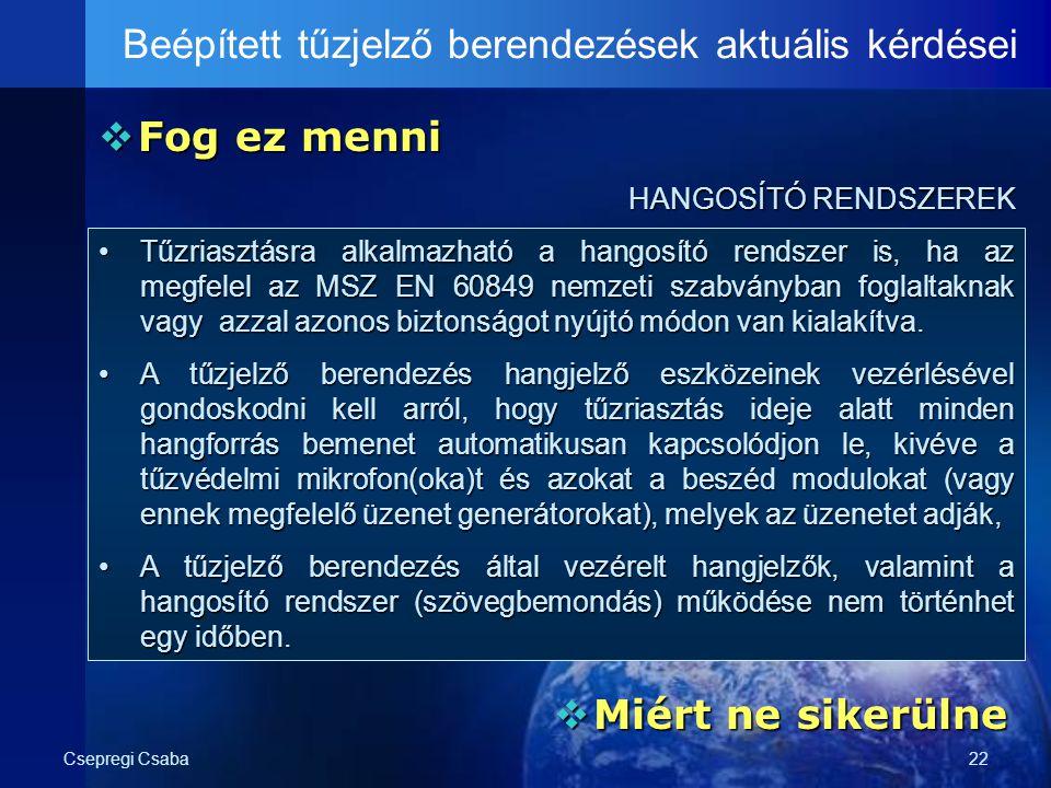 Csepregi Csaba22  Fog ez menni Beépített tűzjelző berendezések aktuális kérdései HANGOSÍTÓ RENDSZEREK HANGOSÍTÓ RENDSZEREK  Miért ne sikerülne Tűzri