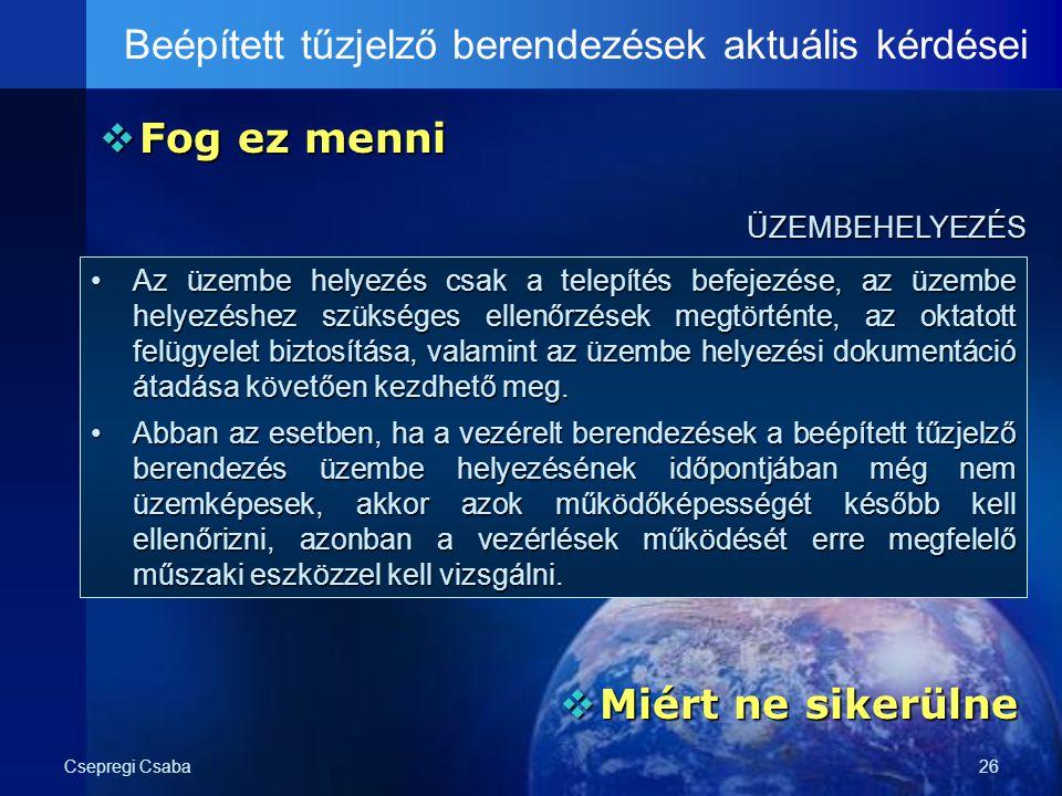 Csepregi Csaba26  Fog ez menni Beépített tűzjelző berendezések aktuális kérdései ÜZEMBEHELYEZÉS ÜZEMBEHELYEZÉS  Miért ne sikerülne Az üzembe helyezé