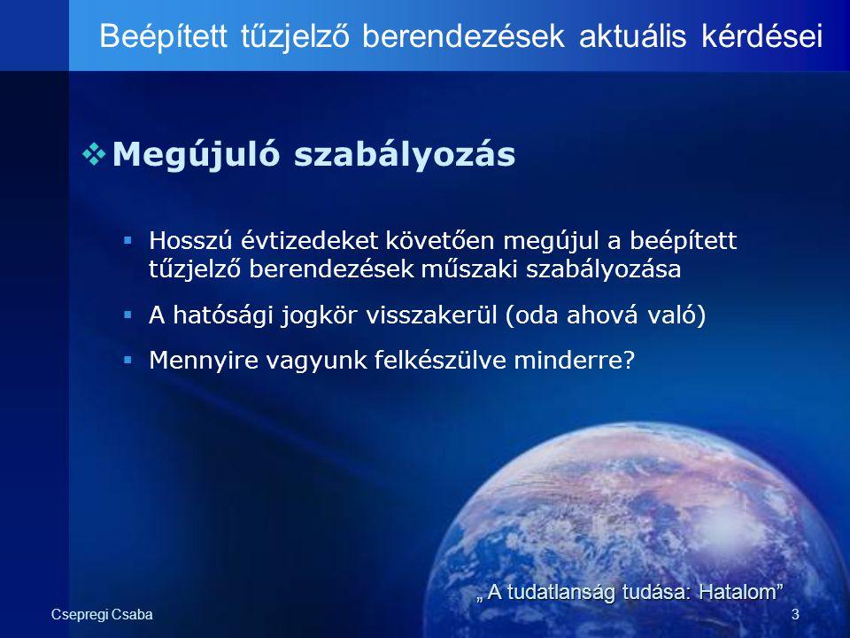 Csepregi Csaba3  Megújuló szabályozás  Hosszú évtizedeket követően megújul a beépített tűzjelző berendezések műszaki szabályozása  A hatósági jogkö
