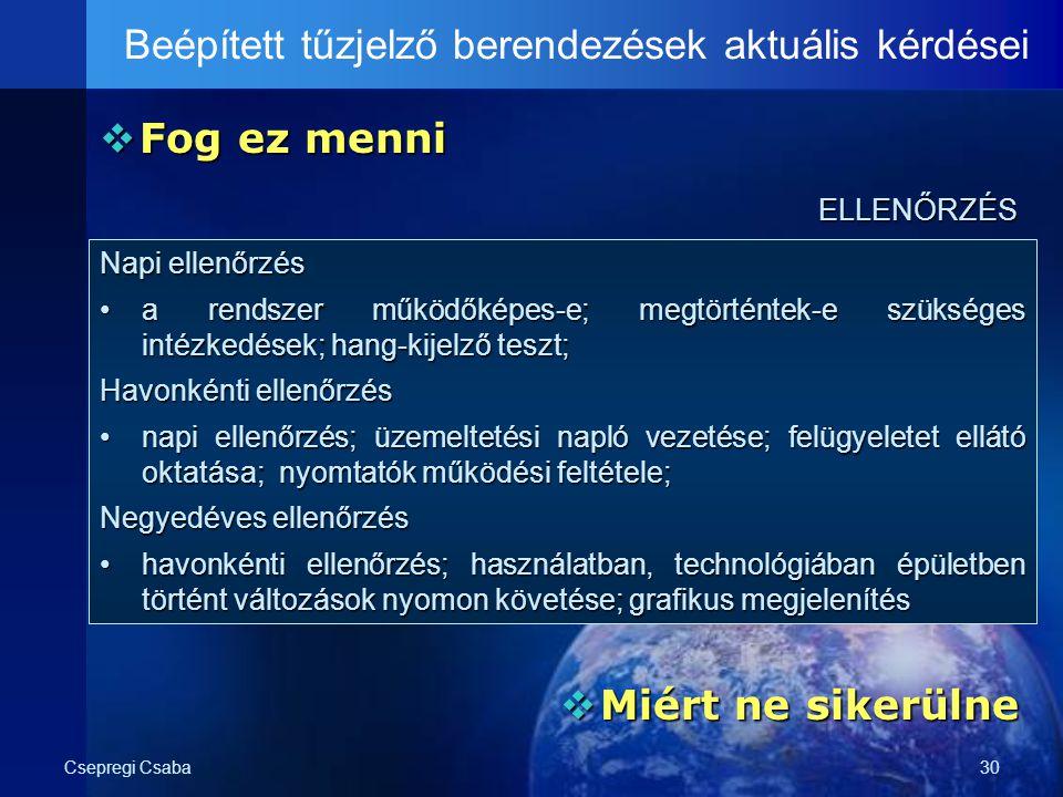 Csepregi Csaba30  Fog ez menni Beépített tűzjelző berendezések aktuális kérdéseiELLENŐRZÉS  Miért ne sikerülne Napi ellenőrzés a rendszer működőképe