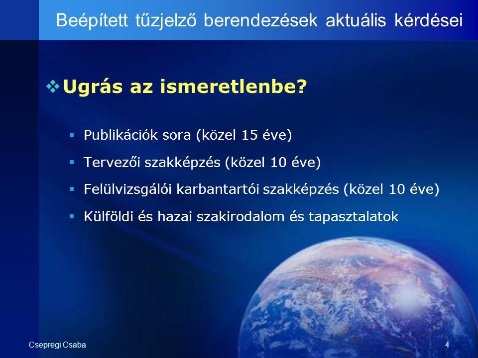 Csepregi Csaba4  Ugrás az ismeretlenbe?  Publikációk sora (közel 15 éve)  Tervezői szakképzés (közel 10 éve)  Felülvizsgálói karbantartói szakképz