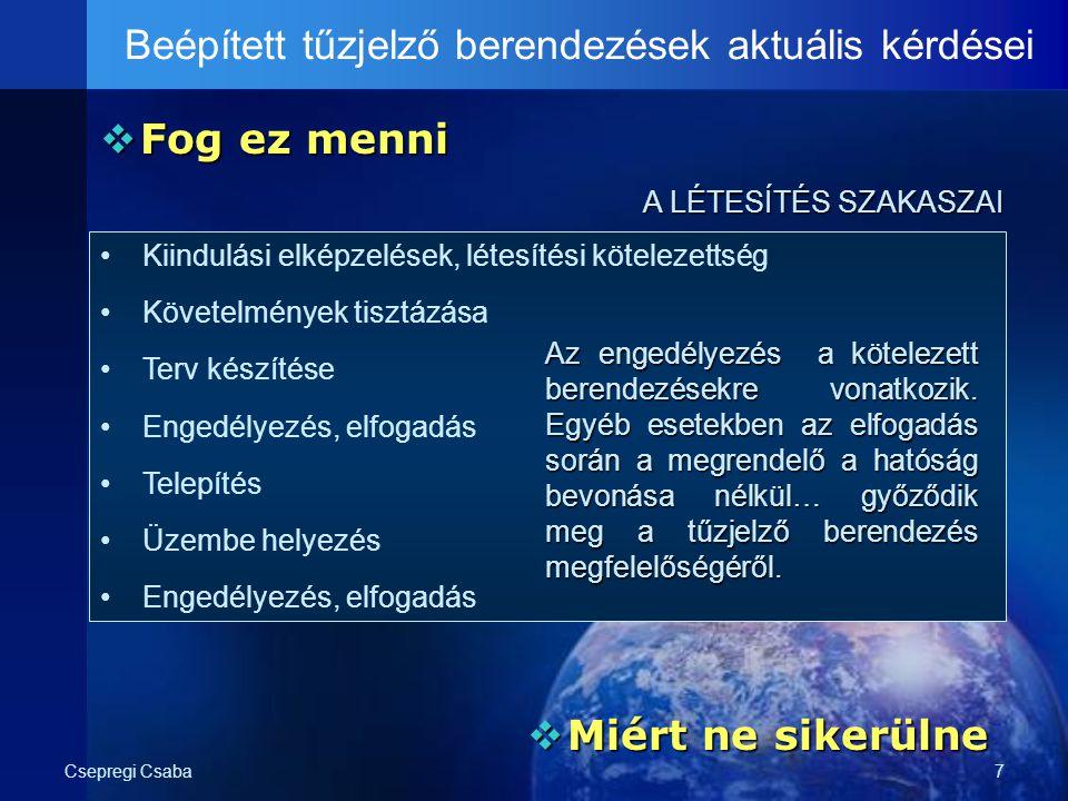 Csepregi Csaba7  Fog ez menni Beépített tűzjelző berendezések aktuális kérdései A LÉTESÍTÉS SZAKASZAI Kiindulási elképzelések, létesítési kötelezetts