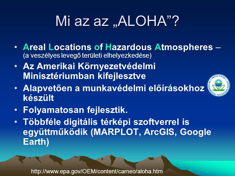 """Mi az az """"ALOHA""""? ALoHAAreal Locations of Hazardous Atmospheres – (a veszélyes levegő területi elhelyezkedése) Az Amerikai Környezetvédelmi Minisztéri"""