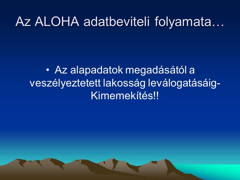 Az ALOHA adatbeviteli folyamata… Az alapadatok megadásától a veszélyeztetett lakosság leválogatásáig- Kimemekítés!!