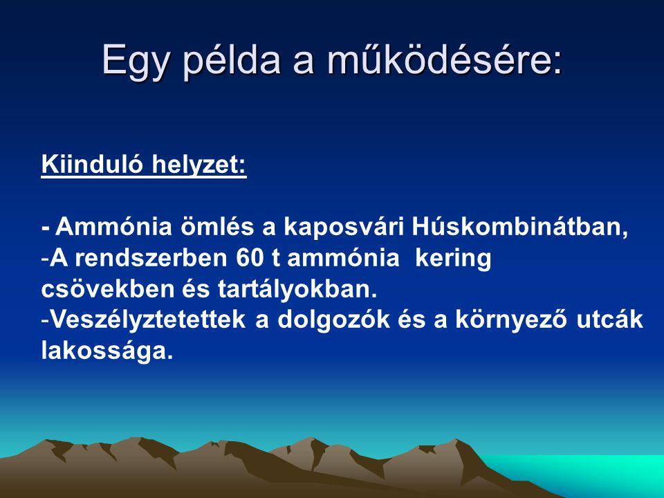 Egy példa a működésére: Kiinduló helyzet: - Ammónia ömlés a kaposvári Húskombinátban, -A rendszerben 60 t ammónia kering csövekben és tartályokban. -V