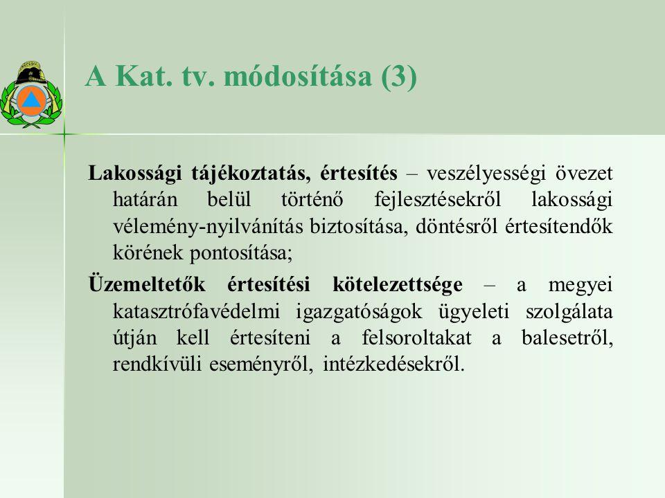 A Kat. tv. módosítása (3) Lakossági tájékoztatás, értesítés – veszélyességi övezet határán belül történő fejlesztésekről lakossági vélemény-nyilvánítá